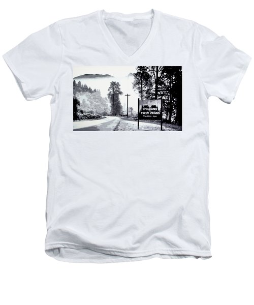 Men's V-Neck T-Shirt featuring the painting Welcome To Twin Peaks by Luis Ludzska