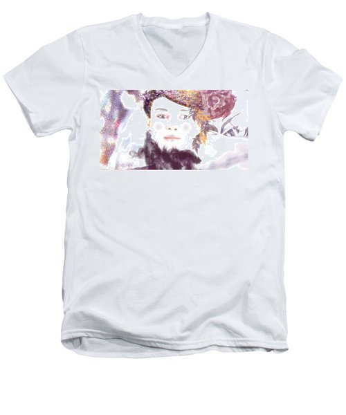 Men's V-Neck T-Shirt featuring the digital art Wendy Waits by Kim Prowse
