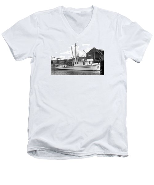 Western Flyer Purse Seiner Tacoma Washington State March 1937 Men's V-Neck T-Shirt by California Views Mr Pat Hathaway Archives