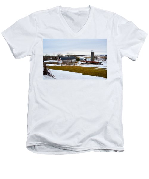 Western New York Farm As An Oil Painting Men's V-Neck T-Shirt