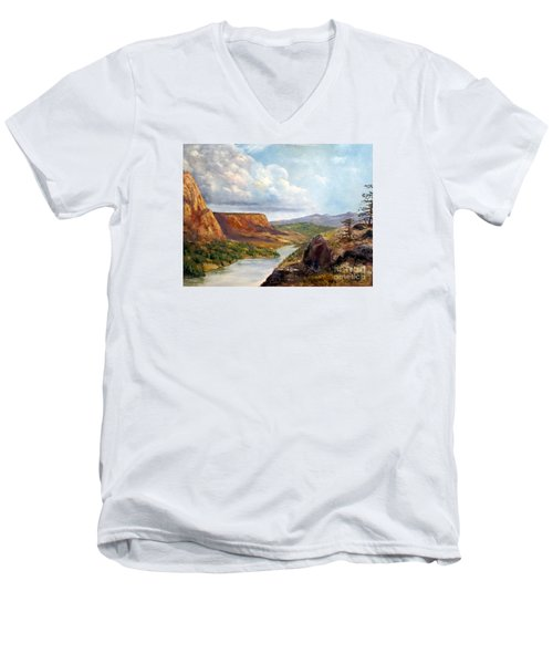 Men's V-Neck T-Shirt featuring the painting Western River Canyon by Lee Piper