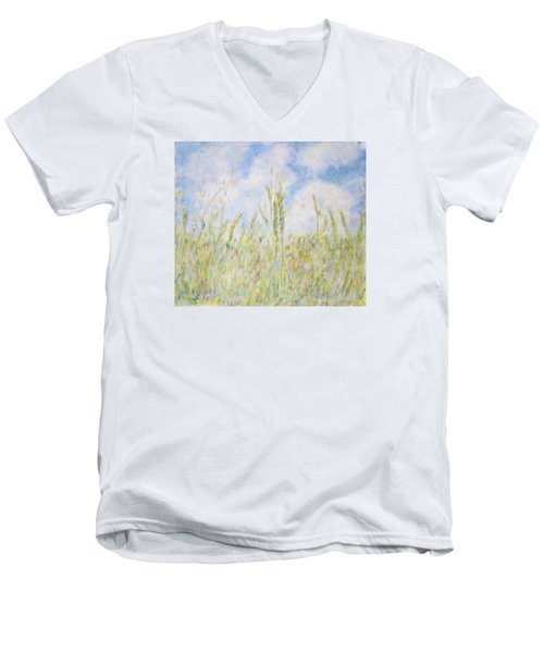 Wheat Field And Wildflowers Men's V-Neck T-Shirt