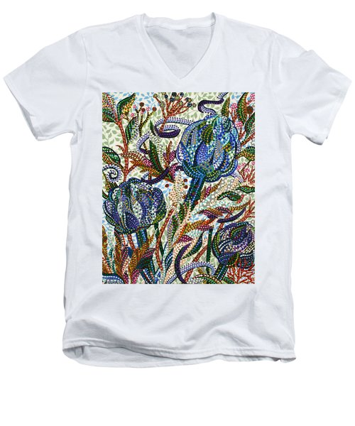 Where Clover Grows Men's V-Neck T-Shirt by Erika Pochybova
