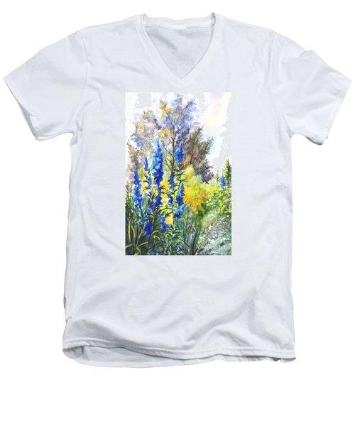 Where The Delphinium Blooms Men's V-Neck T-Shirt by Carol Wisniewski