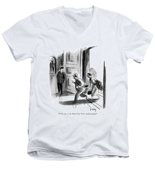 Which Way To The Mona Lisa? We're Double-parked Men's V-Neck T-Shirt by Barney Tobey