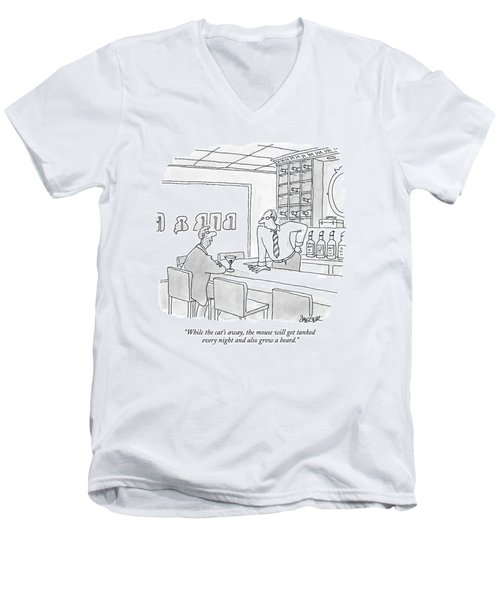 While The Cat's Away Men's V-Neck T-Shirt