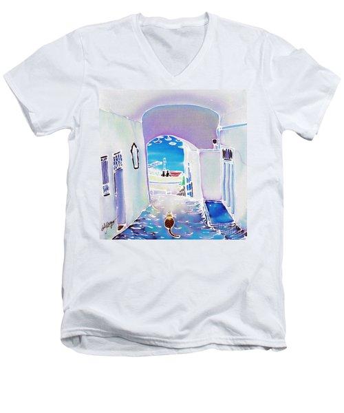 White And Blue 1 Men's V-Neck T-Shirt