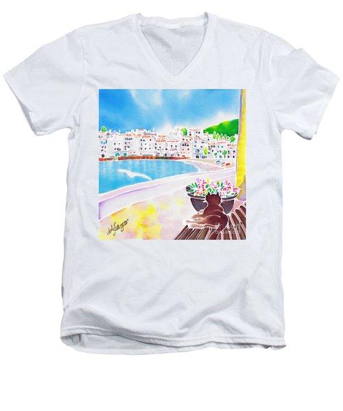 White And Blue 2 Men's V-Neck T-Shirt