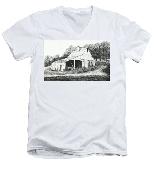 White Barn On Bluff Road Men's V-Neck T-Shirt