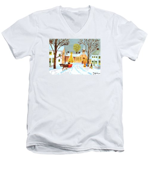 Men's V-Neck T-Shirt featuring the painting White Christmas by Magdalena Frohnsdorff