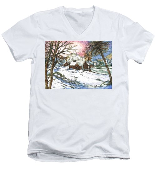White Christmas Men's V-Neck T-Shirt by Teresa White