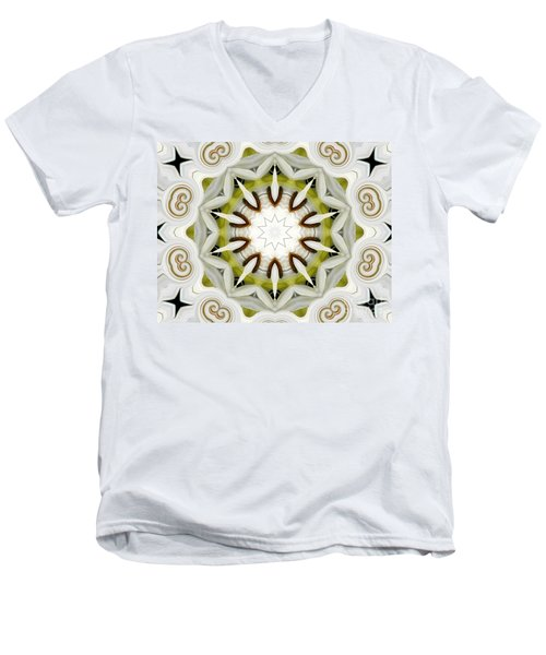 Men's V-Neck T-Shirt featuring the photograph White Daisies Kaleidoscope by Rose Santuci-Sofranko