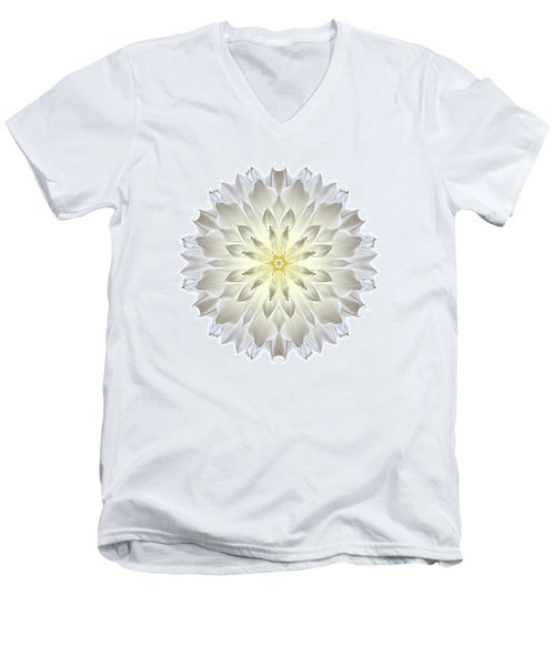Giant White Dahlia I Flower Mandala White Men's V-Neck T-Shirt by David J Bookbinder