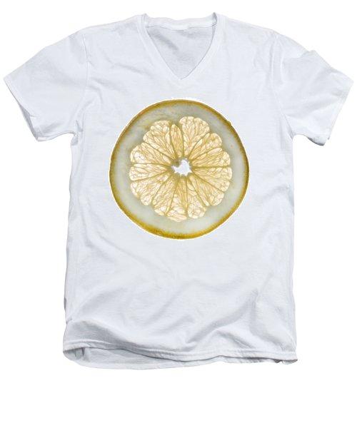 White Grapefruit Slice Men's V-Neck T-Shirt by Steve Gadomski