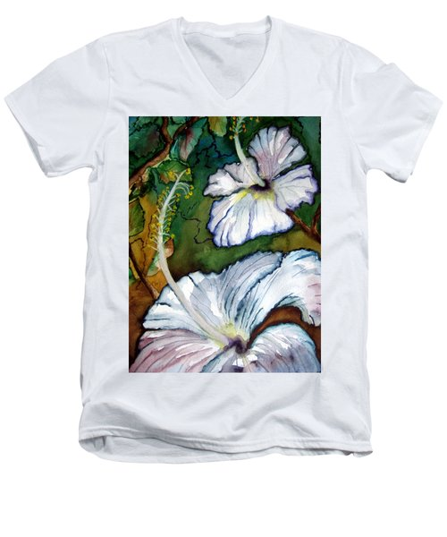 White Hibiscus Men's V-Neck T-Shirt by Lil Taylor