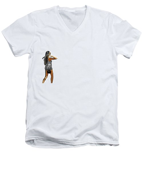 White Men's V-Neck T-Shirt