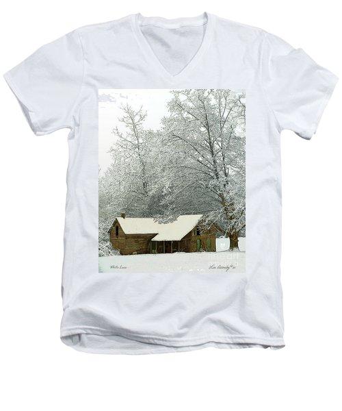 White Lace Men's V-Neck T-Shirt