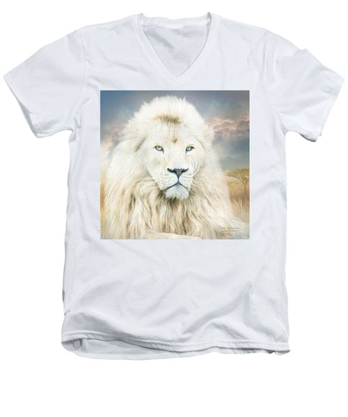 Men's V-Neck T-Shirt featuring the mixed media White Lion - Spirit Of Goodness by Carol Cavalaris