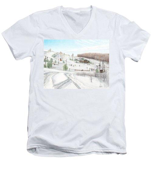 White Mountain Resort Men's V-Neck T-Shirt by Albert Puskaric
