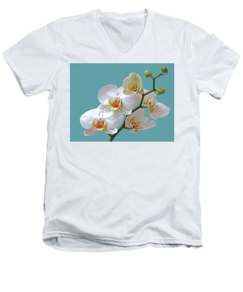 White Orchids On Ocean Blue Men's V-Neck T-Shirt