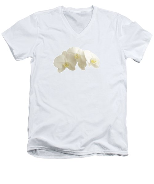 White Orchids On White Men's V-Neck T-Shirt