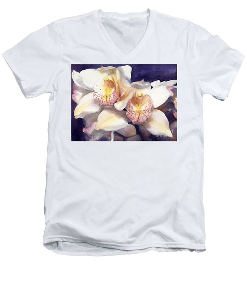White Orchids Watercolor Men's V-Neck T-Shirt by Greta Corens