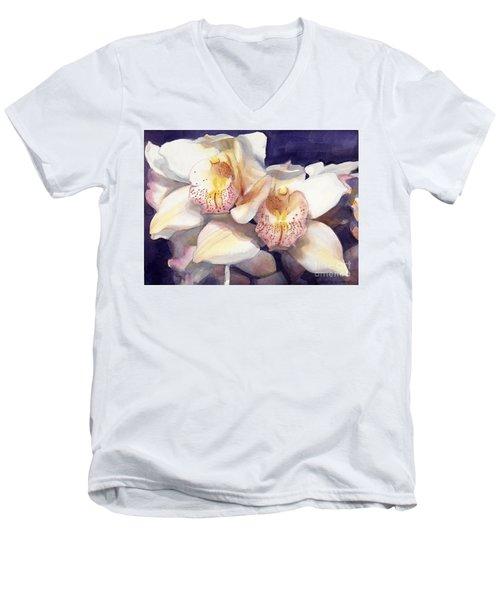 White Orchids Watercolor Men's V-Neck T-Shirt