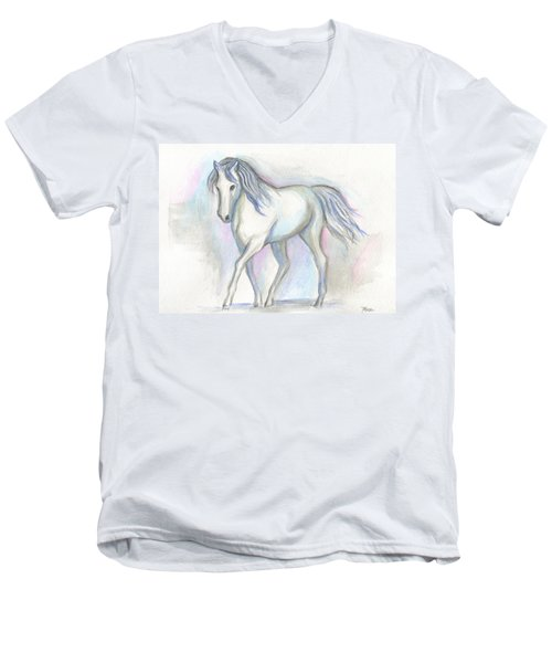White Pony Men's V-Neck T-Shirt