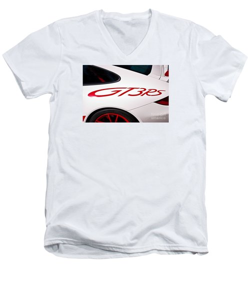White Porsche Gt3rs - Rear Quarter Men's V-Neck T-Shirt