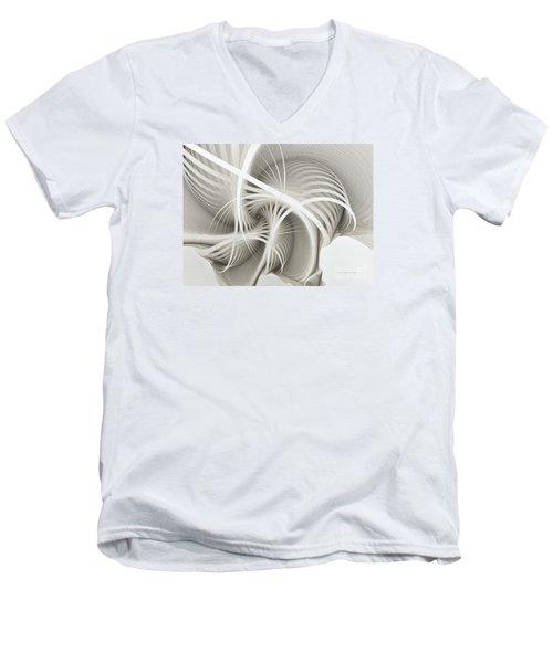 White Ribbons Spiral Men's V-Neck T-Shirt by Karin Kuhlmann