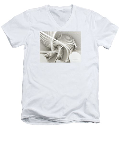 White Ribbons Spiral Men's V-Neck T-Shirt