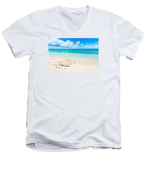 White Sand Men's V-Neck T-Shirt by Chad Dutson