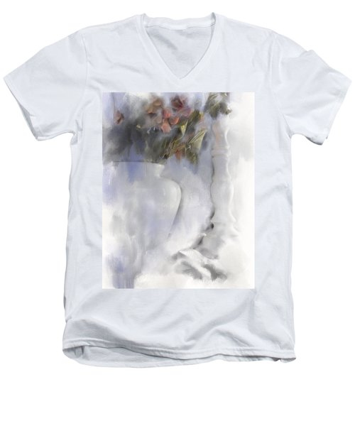 White Still Life Vase And Candlestick Men's V-Neck T-Shirt