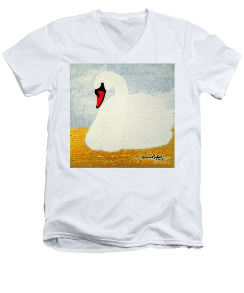 Men's V-Neck T-Shirt featuring the painting White Swan Lake by Richard W Linford