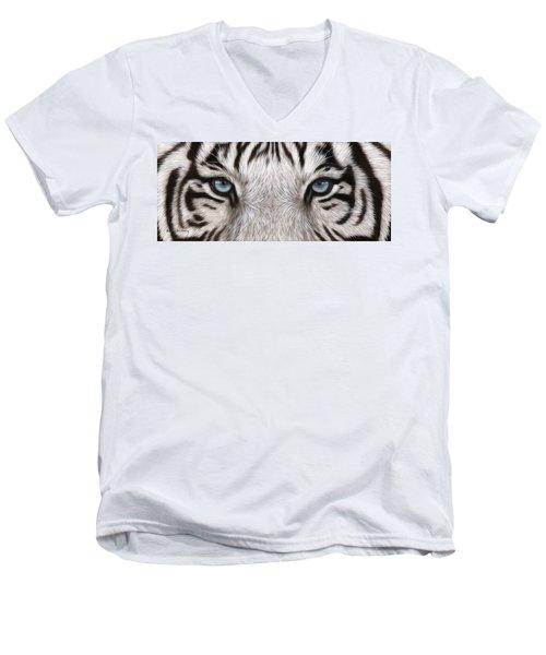 White Tiger Eyes Painting Men's V-Neck T-Shirt