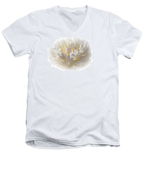 White Peony With A Dash Of Yellow Men's V-Neck T-Shirt by Sherman Perry