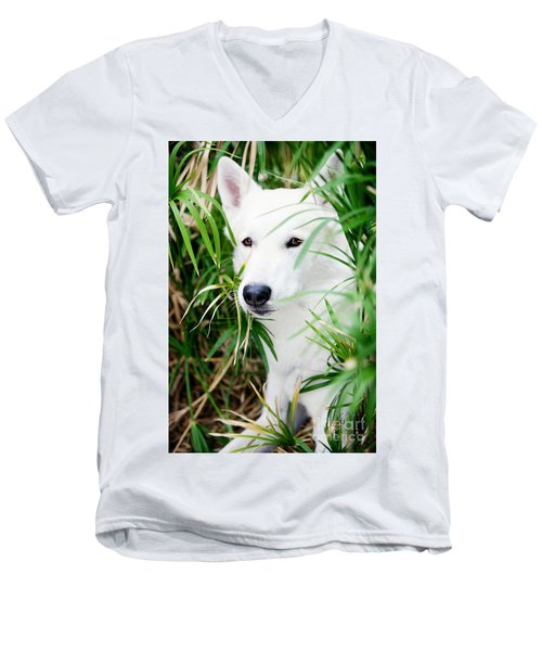 Men's V-Neck T-Shirt featuring the photograph White Wolf by Erika Weber