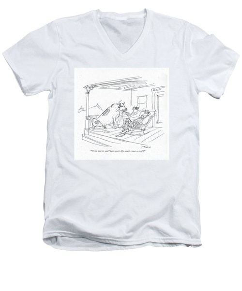 Who Was It Said 'into Each Life Must Come A Cow'? Men's V-Neck T-Shirt