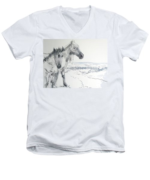 Wild Horses Drawing Men's V-Neck T-Shirt