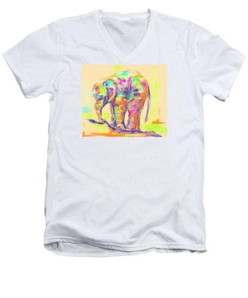 Wildlife Baby Elephant Men's V-Neck T-Shirt by Go Van Kampen