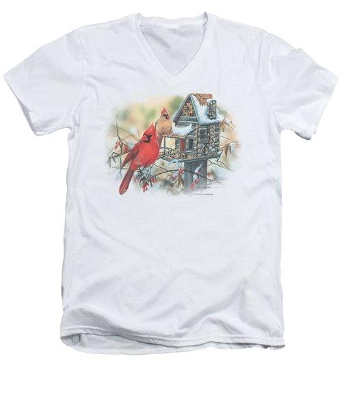Wildlife - Cardinals Rustic Retreat Men's V-Neck T-Shirt