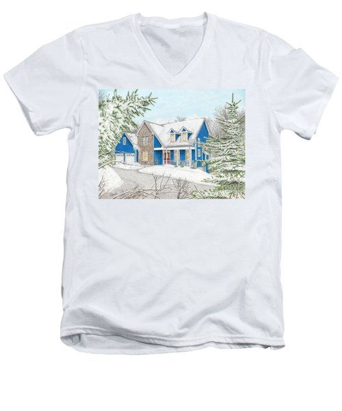 Men's V-Neck T-Shirt featuring the painting Wiley House by Albert Puskaric