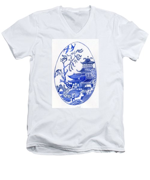 Willow Pattern Egg I Men's V-Neck T-Shirt