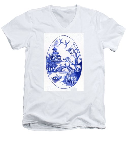 Willow Pattern Egg II Men's V-Neck T-Shirt