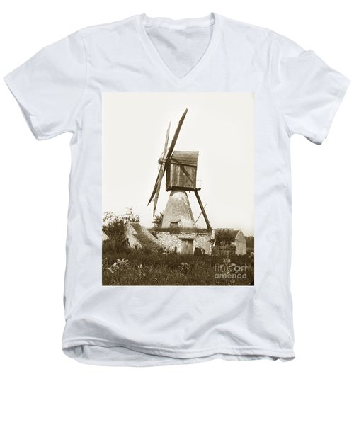 Men's V-Neck T-Shirt featuring the photograph Wind Mill In France 1900 Historical Photo by California Views Mr Pat Hathaway Archives