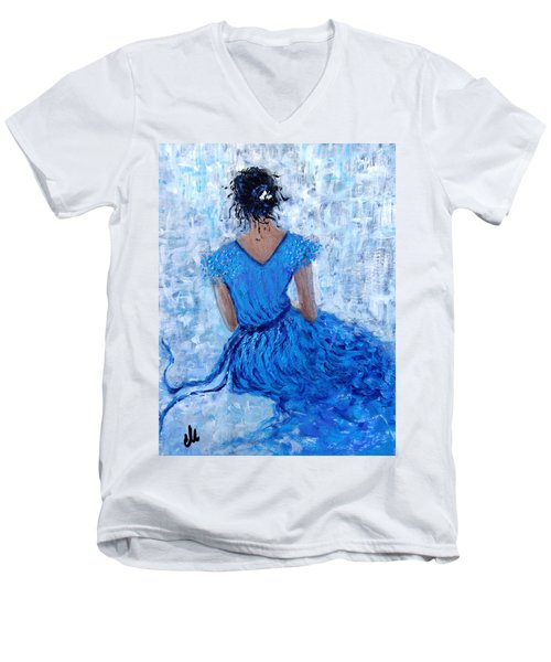 Men's V-Neck T-Shirt featuring the painting Wind Of Hope.. by Cristina Mihailescu