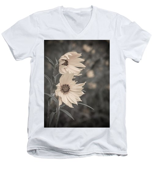 Men's V-Neck T-Shirt featuring the photograph Windblown Wild Sunflowers by Patti Deters