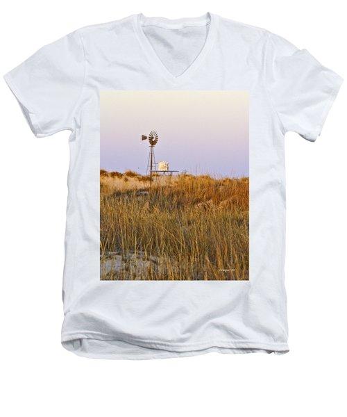 Windmill At Dusk 2011 Men's V-Neck T-Shirt