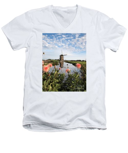 Windmill Landscape In Holland Men's V-Neck T-Shirt by IPics Photography