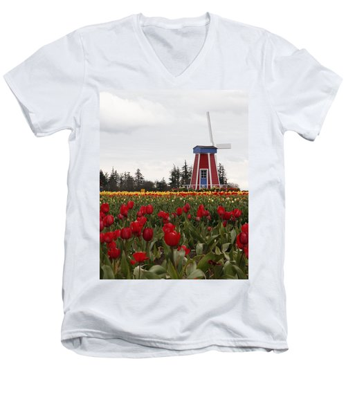 Men's V-Neck T-Shirt featuring the photograph Windmill Red Tulips by Athena Mckinzie